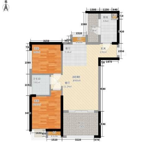 中铁城锦南汇2室0厅1卫1厨78.00㎡户型图