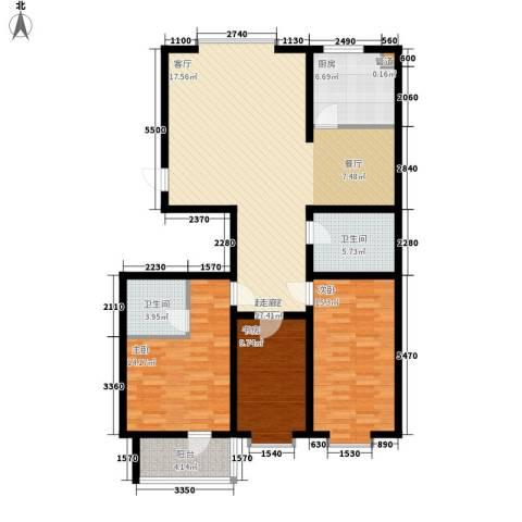 贵和花园三期3室0厅2卫1厨117.00㎡户型图