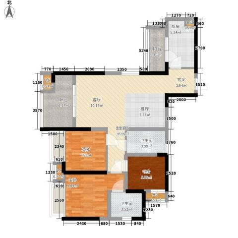 中铁城锦南汇3室0厅2卫1厨89.00㎡户型图