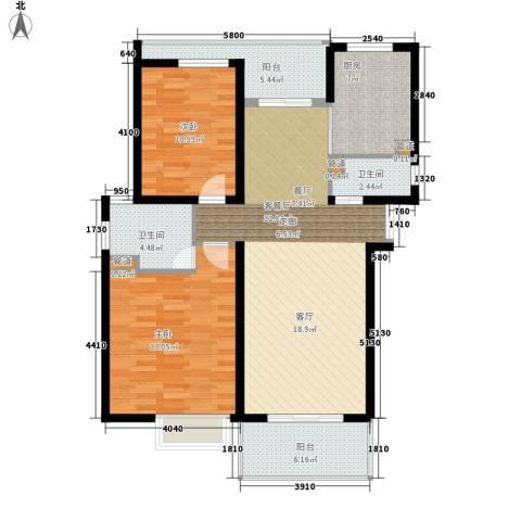 紫荆苑2室1厅2卫1厨99.00㎡户型图