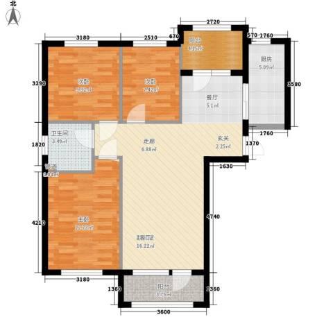 富虹太子城3室0厅1卫1厨107.00㎡户型图