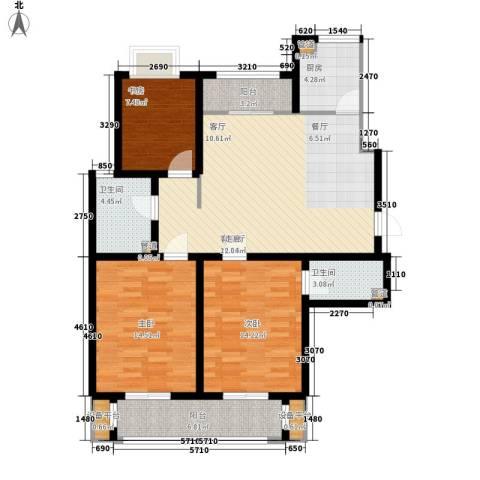 滨河城市经典3室1厅2卫1厨128.00㎡户型图