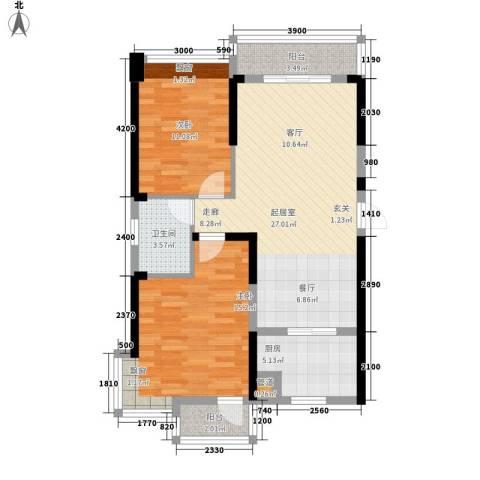 东湖御院2室0厅1卫1厨92.00㎡户型图