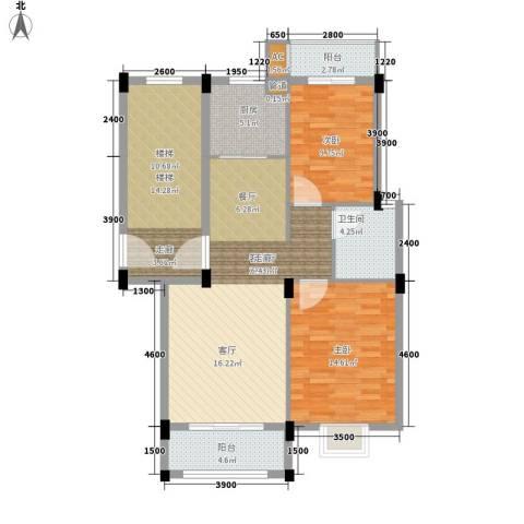 金谷鑫城三期2室1厅1卫1厨84.91㎡户型图