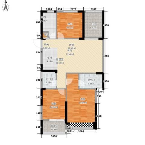 东湖御院3室0厅2卫1厨113.00㎡户型图