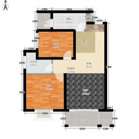 华府世家2室0厅1卫1厨76.00㎡户型图