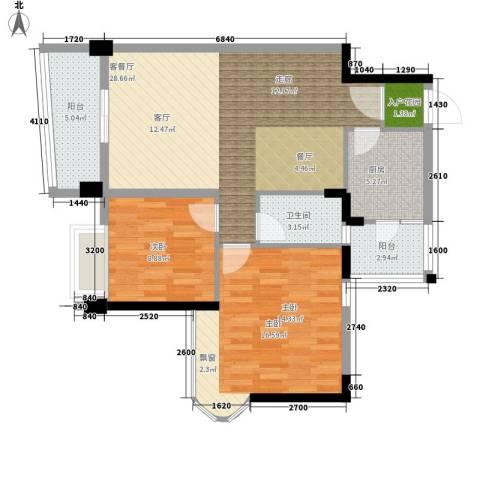 雅居乐・青花南湖2室1厅1卫1厨102.00㎡户型图