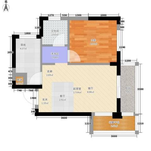 东湖御院1室0厅1卫1厨53.00㎡户型图