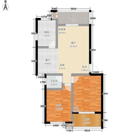 万煦园2室0厅1卫1厨85.00㎡户型图