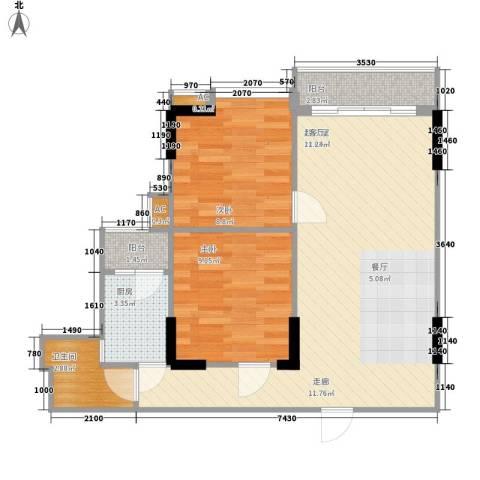 先登社横巷小区2室0厅1卫1厨80.00㎡户型图