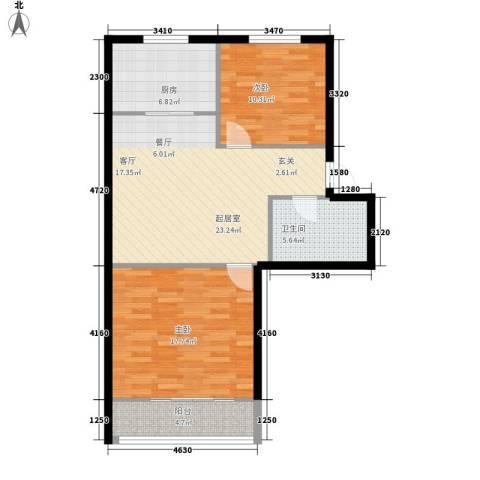 亨泰龙海山庄2室0厅1卫1厨76.00㎡户型图