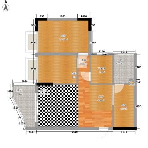 海龙湾2室0厅1卫1厨76.00㎡户型图