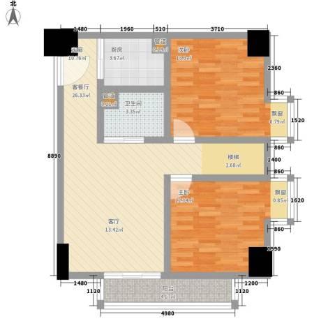 YO'领御2室1厅1卫1厨83.00㎡户型图