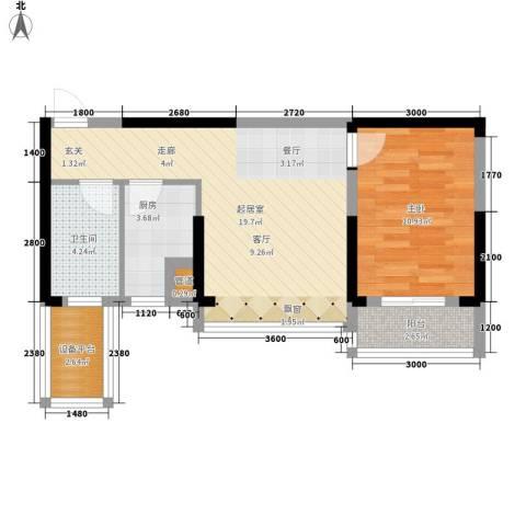 东湖御院1室0厅1卫1厨58.00㎡户型图