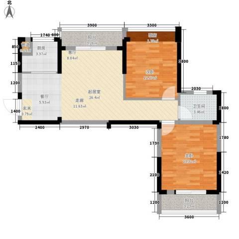 东湖御院2室0厅1卫1厨90.00㎡户型图