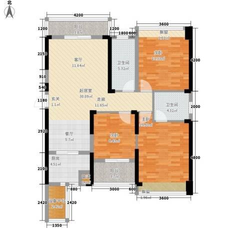 东湖御院3室0厅2卫1厨121.00㎡户型图