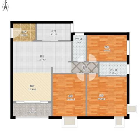 沙面新城3室1厅2卫1厨126.00㎡户型图