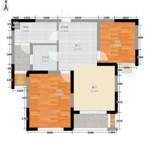 天鹅湾国际滨水社区2室0厅1卫1厨86.00㎡户型图
