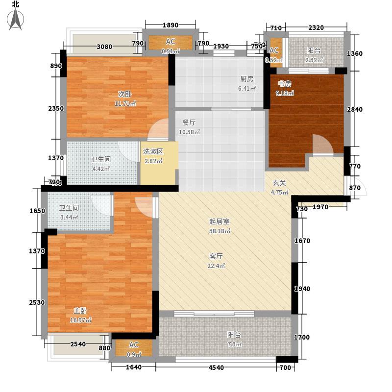 翰林壹品117.60㎡一期12号楼标准层C3户型