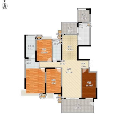恒基誉珑岛4室1厅2卫1厨222.00㎡户型图