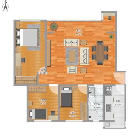 中正花园3室1厅1卫1厨98.00㎡户型图
