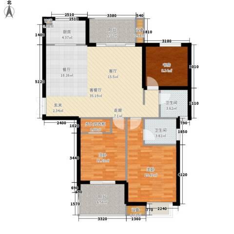 恒鑫文锦苑3室1厅2卫1厨109.00㎡户型图
