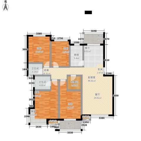 万煦园4室0厅2卫1厨144.00㎡户型图