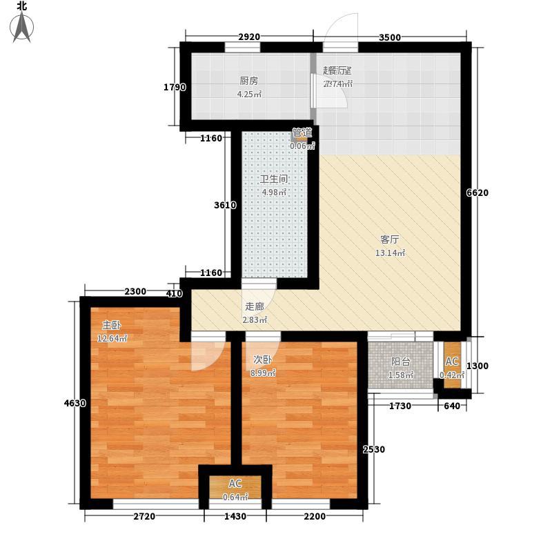 保利华庭90.00㎡E户型3室2厅