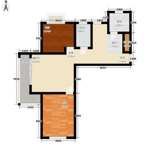 滨河城市经典2室1厅1卫1厨110.00㎡户型图