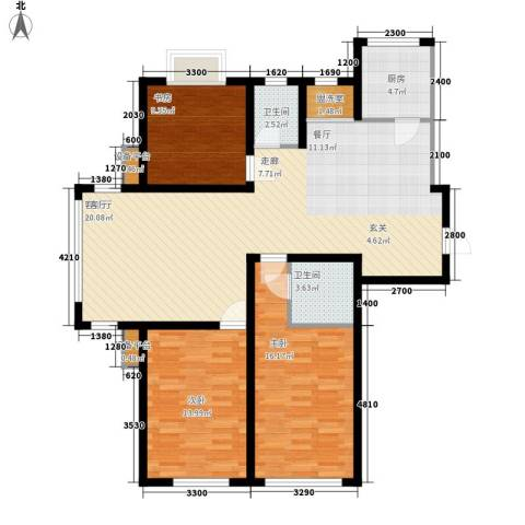 滨河城市经典3室1厅2卫1厨136.00㎡户型图