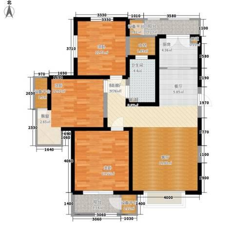 格调竹境3室1厅1卫1厨123.00㎡户型图