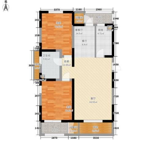 格调竹境2室1厅1卫1厨116.00㎡户型图
