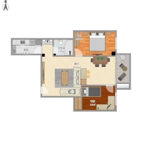 天雅阁2室1厅1卫1厨85.00㎡户型图