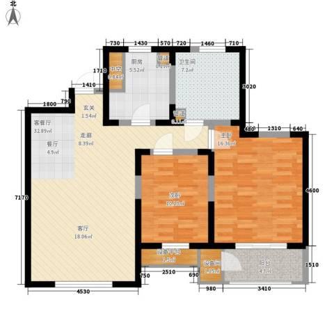 格调竹境2室1厅1卫1厨114.00㎡户型图