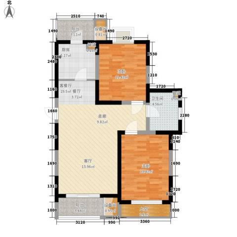 格调竹境2室1厅1卫1厨108.00㎡户型图