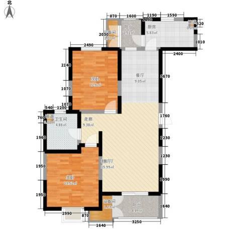 格调竹境2室1厅1卫1厨118.00㎡户型图