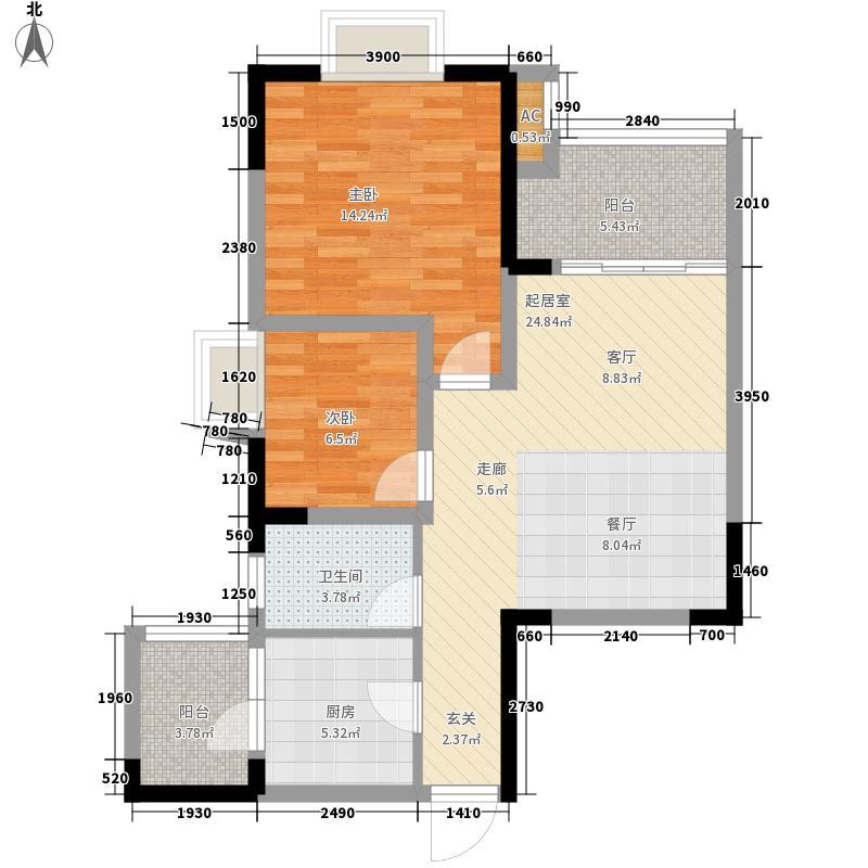 融汇半岛68.00㎡6期2号楼标准层面积6800m户型