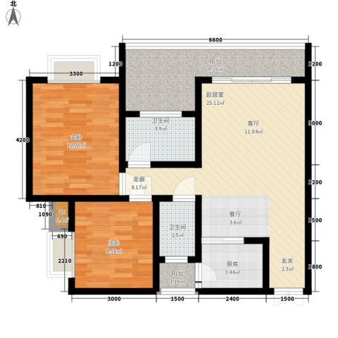 福缔湾2室0厅2卫1厨88.00㎡户型图