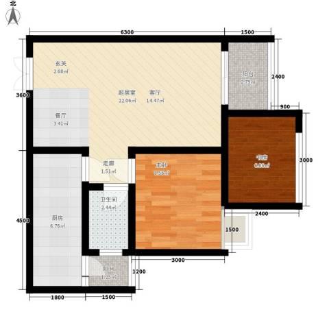 福缔湾2室0厅1卫1厨68.00㎡户型图