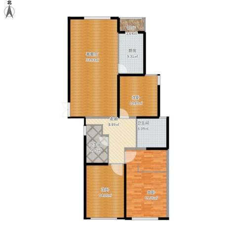 瑞宝国际花苑3室1厅2卫1厨147.00㎡户型图