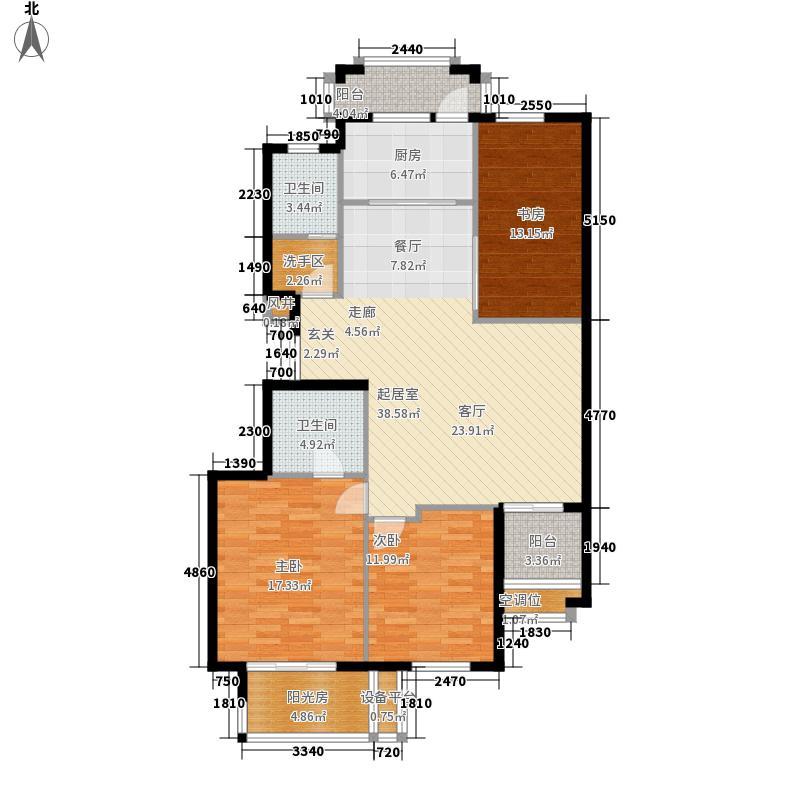 金府华庭127.00㎡12#高层标准层中面积12700m户型