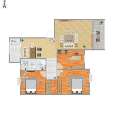 海韵嘉园3室1厅1卫1厨113.00㎡户型图