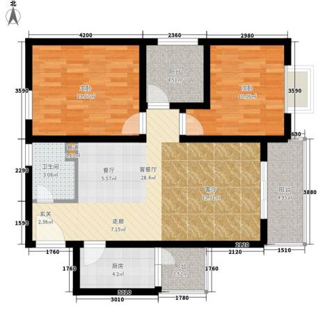 鑫龙天然居2室1厅1卫1厨103.00㎡户型图