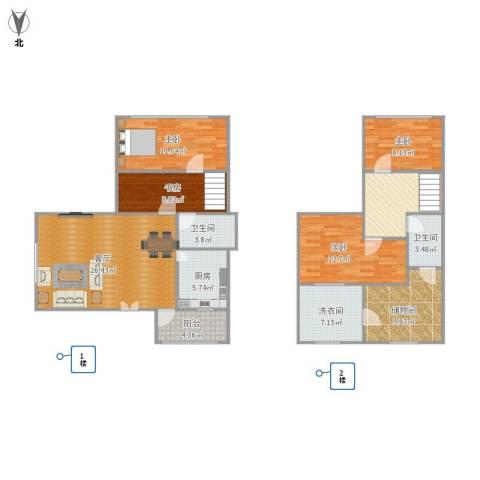 控江路1200弄小区4室2厅2卫1厨149.00㎡户型图
