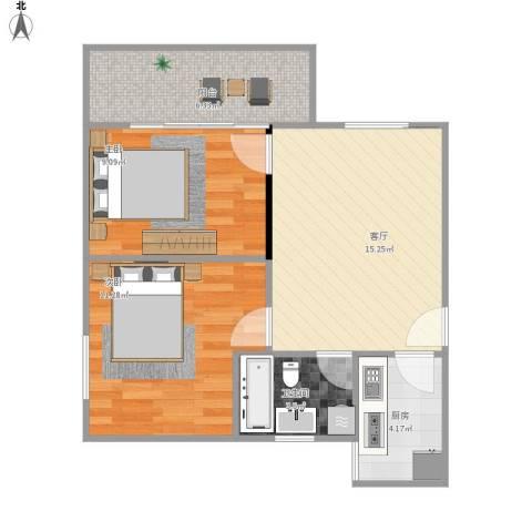 汉城湖畔2室1厅1卫1厨68.00㎡户型图