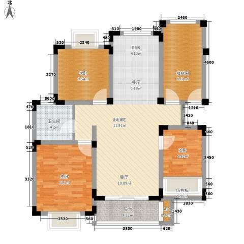 上层9号3室0厅1卫0厨93.00㎡户型图