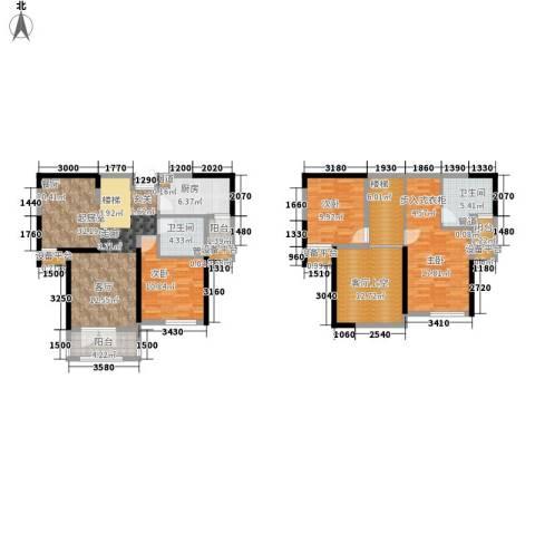团泊湖光耀城3室0厅2卫1厨152.00㎡户型图