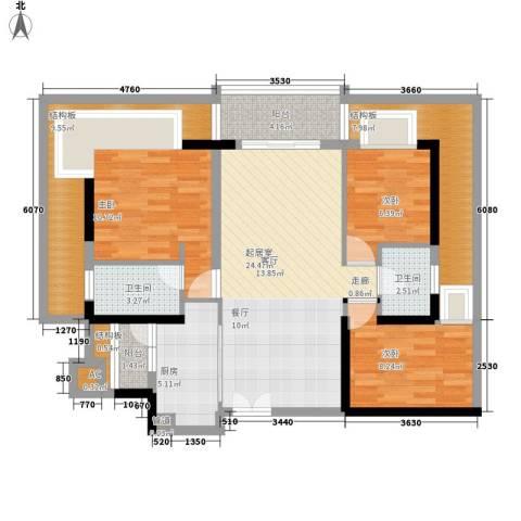 方圆小区3室0厅2卫1厨101.00㎡户型图