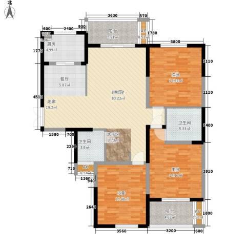 长高圆梦佳苑3室0厅2卫1厨143.00㎡户型图