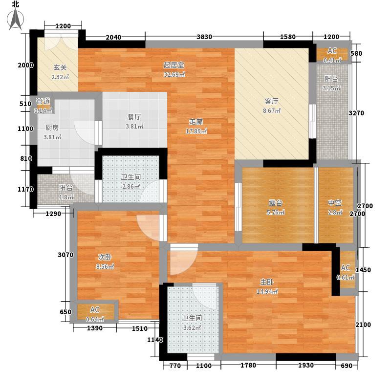 联发瞰青湖光天地99.63㎡联发瞰青湖光院馆3号户型2室2厅